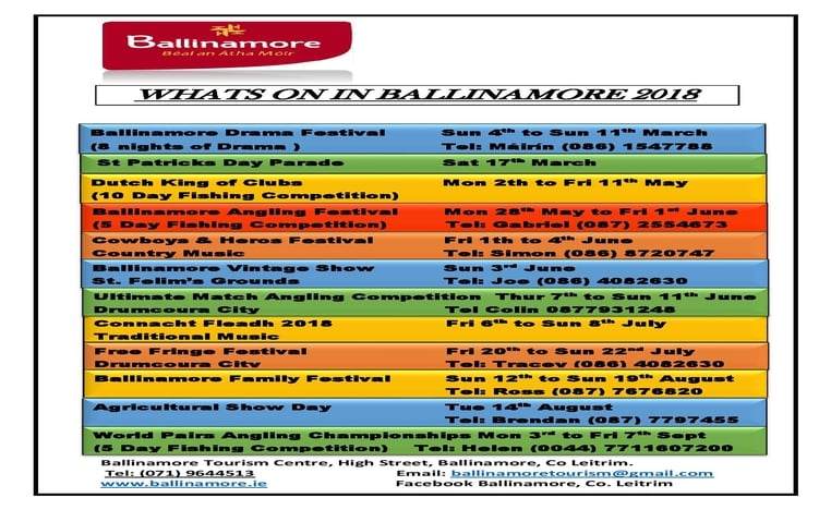 A guide to whats on in Ballinamore 2018